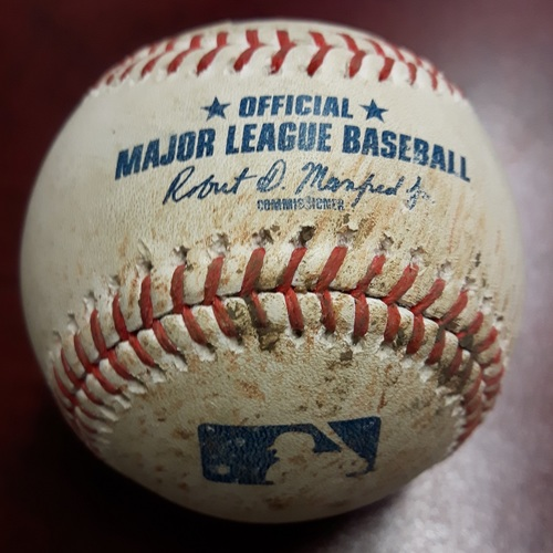Photo of Authenticated Game Used Baseball - 1st Out/Strikeout of the Game for James Paxton's No Hitter. May 8, 2018: James Paxton Strikes Out Teoscar Hernandez (Bottom 1)