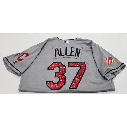 Photo of Cody Allen Game-Used 2018 Stars & Stripes Jersey