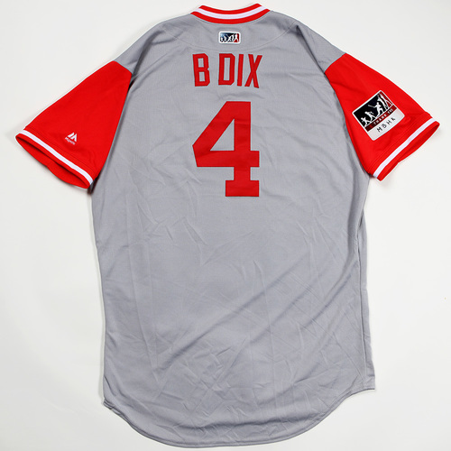 "Photo of Brandon ""B Dix"" Dixon Cincinnati Reds Game-Used 2018 Players' Weekend Jersey"