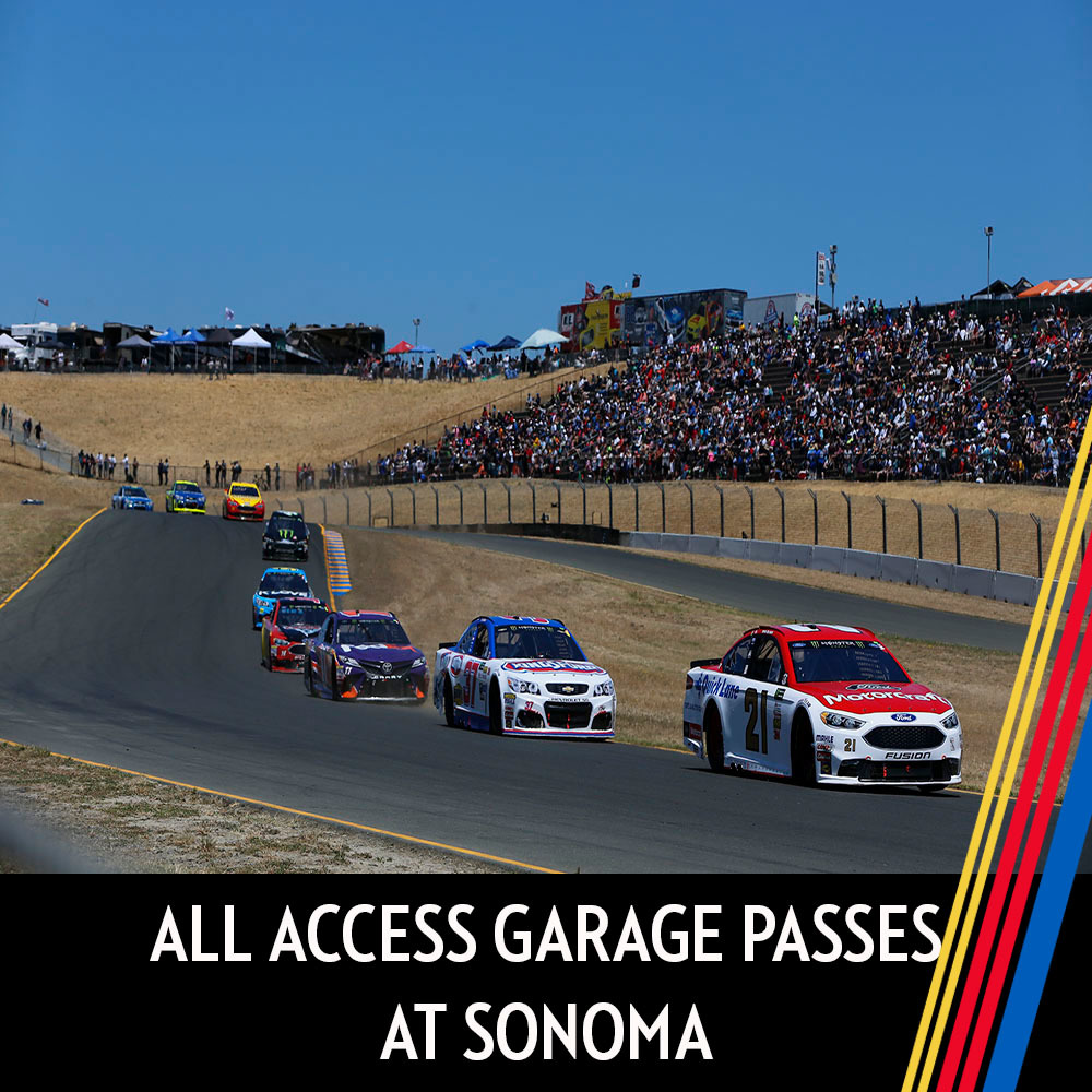 All Access Garage Passes at Sonoma for the entire race weekend!