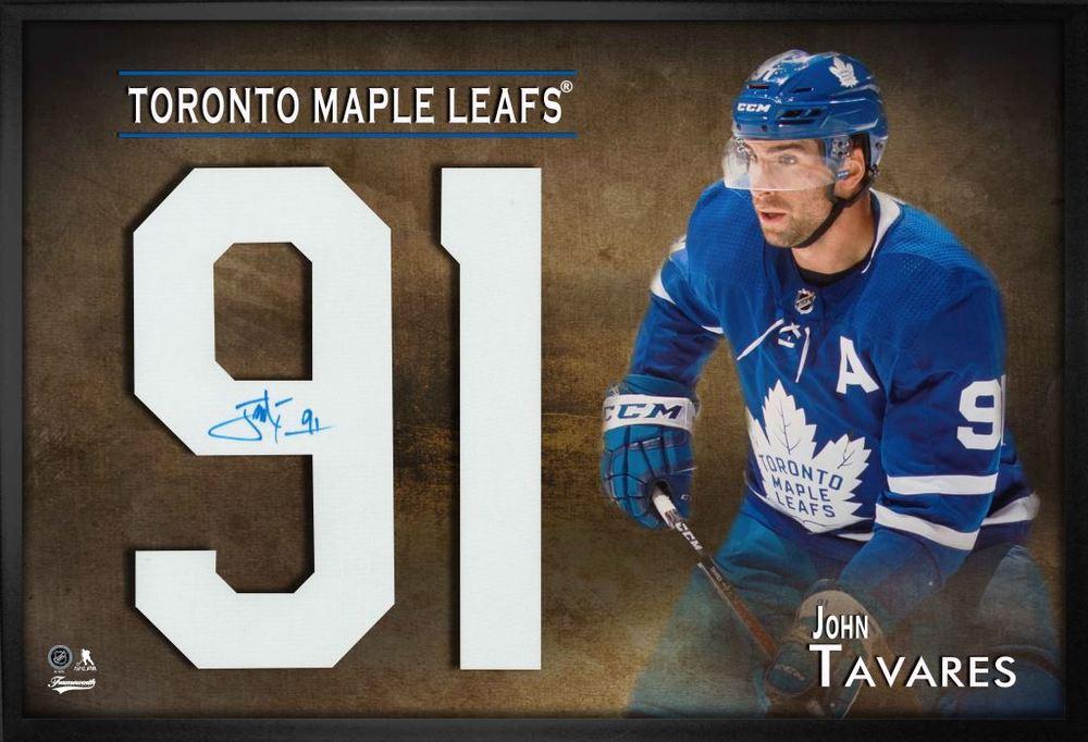super popular 908cc b6710 John Tavares Signed Jersey Number Framed Print Maple Leafs ...
