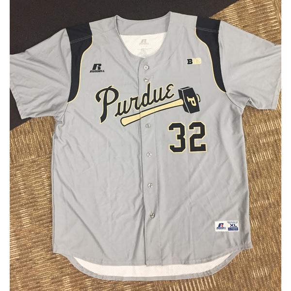 Photo of Purdue Baseball #32 Gray Game-Worn Jersey