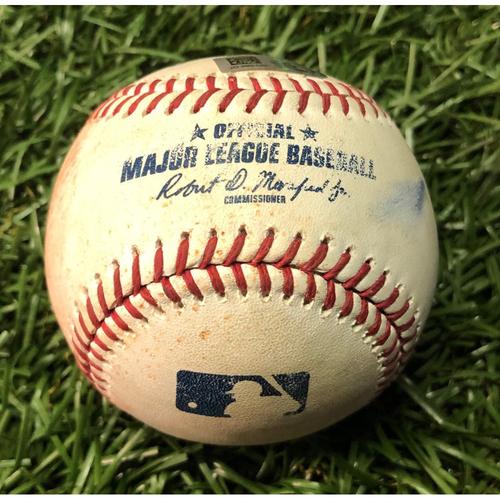 Photo of Game Used Baseball: Asdrubal Cabrera double off Oliver Drake - Brendan McKay MLB Debut - June 29, 2019 v TEX