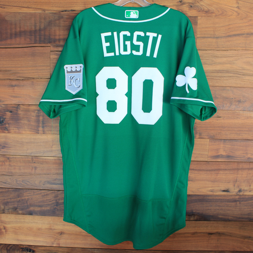 Photo of Team-Issued 2020 St. Patrick's Day Jersey: Ryan Eigsti #80 - Size 46