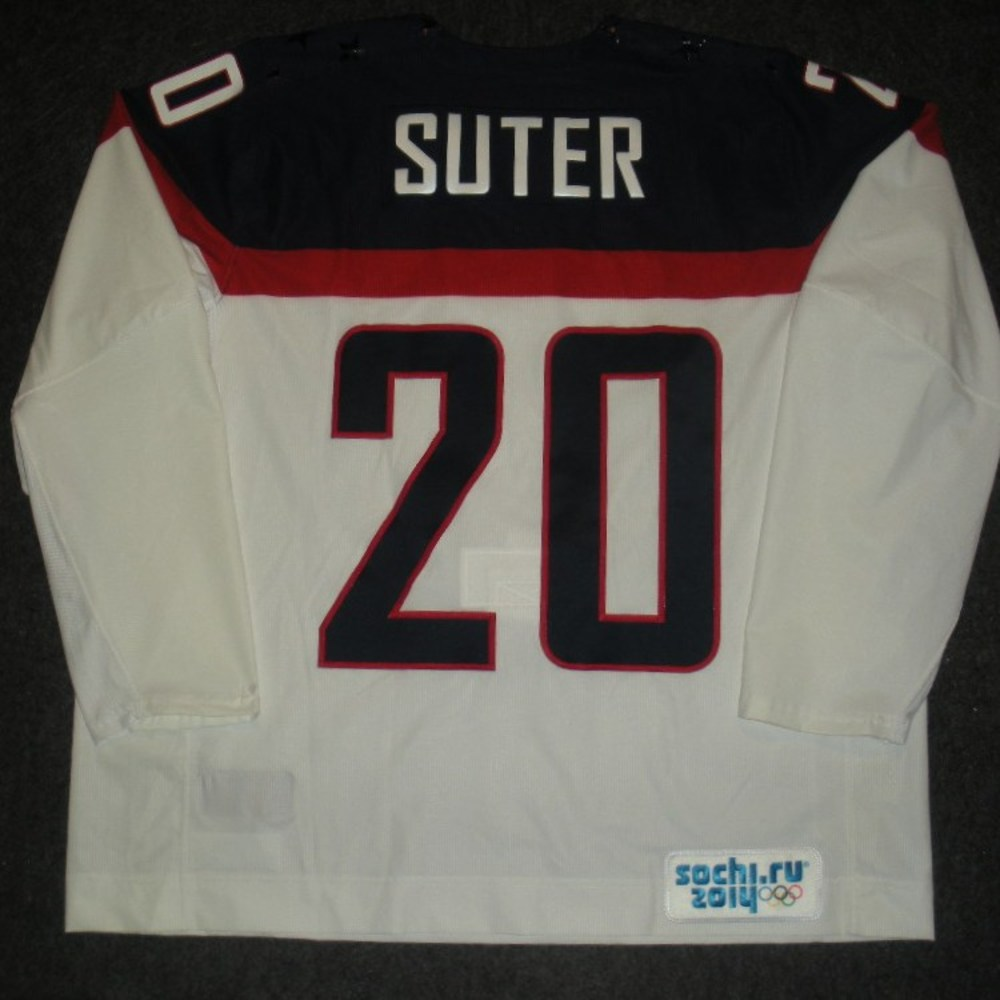 Ryan Suter - Sochi 2014 - Winter Olympic Games - Team USA White Game-Worn Jersey - Worn in 2nd and 3rd Periods vs. Slovakia, 2/13/14