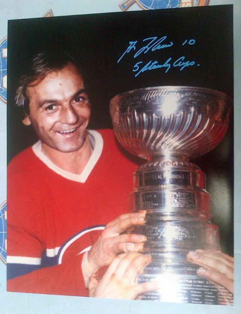 GUY LAFLEUR Montreal Canadiens SIGNED 16x20 Photo w/ 5 Stanley Cups Inscription