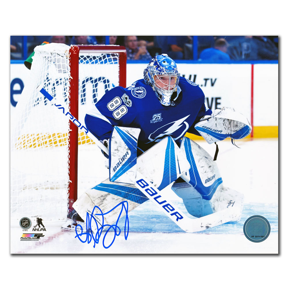 Andrei Vasilevskiy Tampa Bay Lightning EYE ON THE PUCK Autographed 8x10