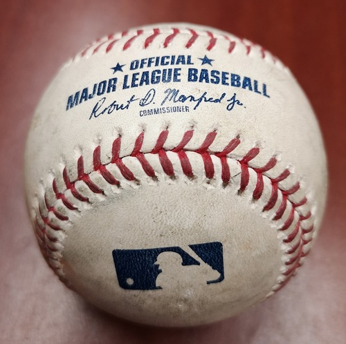 Photo of Authenticated Game Used Baseball - March 29, 2019 vs Tigers: Matt Shoemaker Strikes Out Jeimer Candelario (T6). 1st Managerial Win for Charlie Montoyo.