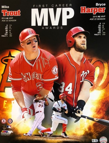 Photo of Mike Trout Autographed 16x20 - Pictured with Bryce Harper