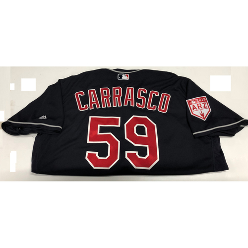 Photo of Carlos Carrasco 2019 Navy Spring Training Jersey