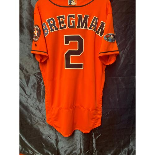 Photo of 2018 Team-Issued Alex Bregman Postseason Orange Alt Jersey (Size 42)