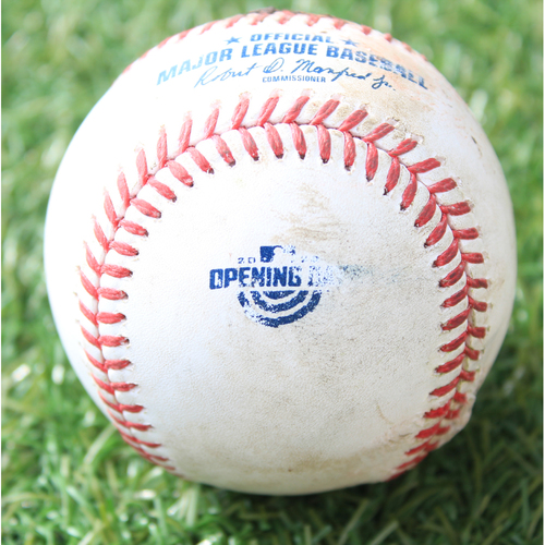 Photo of Game-Used Opening Day Baseball: Batter - Robert, Pitcher - Bubic (Debut), Ground Into Force Out (7/31/20 CWS @ KC)