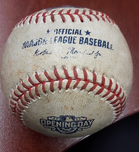 Photo of Authenticated Game Used Baseball: Travis Shaw grounds out, third baseman Ryan Goins to first baseman Justin Smoak.   Ryan Braun to 2nd. Pitcher: Joe Biagini (41st Blue Jays Home Opener)
