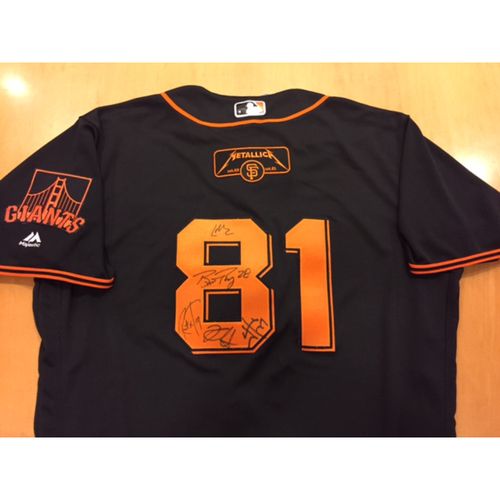 Giants Metallica Auction: Posey & Metallica Signed Giants Black Saturday Jersey