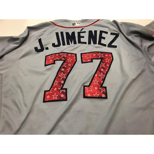 Photo of Game-Used Joe Jimenez Stars and Stripes Jersey
