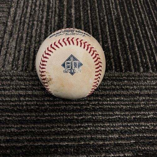 Photo of San Francisco Giants - 2018 Game Used Baseball - 9/29/18 vs. Los Angeles Dodgers - B-5: Clayton Kershaw  to Joe Panik - Pitch in the Dirt