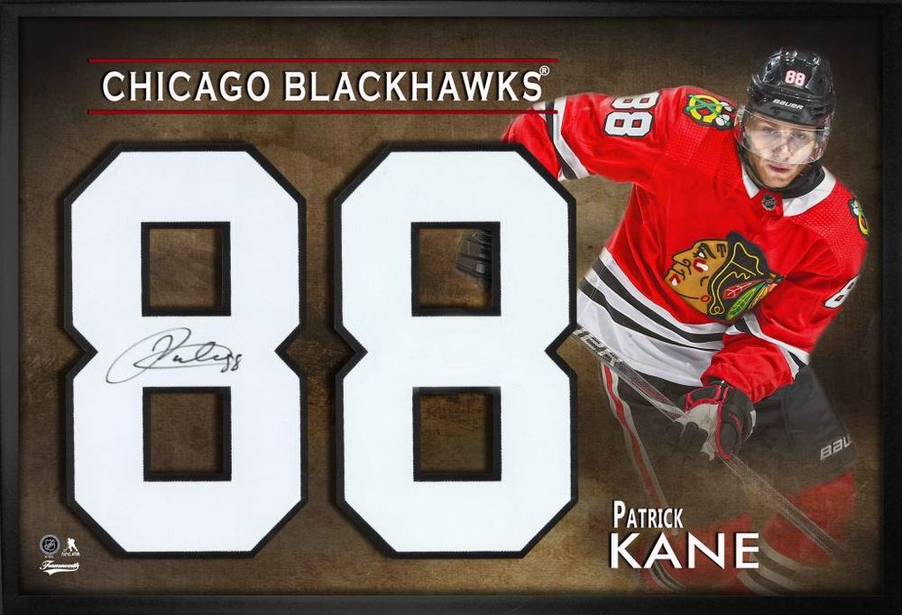 Patrick Kane Signed Jersey Number Framed Print Blackhawks Red