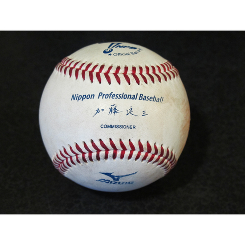 Photo of Official Game Used Baseball from 2012 Japan Exhibition Game Pitcher: D.J. Houlton, Batter: Mike Carp (Ball in the Dirt) (Mariners vs. Yomiuri Giants)