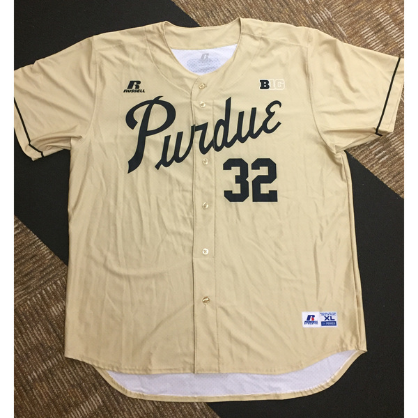 Photo of Purdue Baseball #32 Gold Game-Worn Jersey