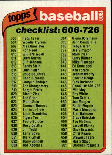 Photo of 1980 Topps #646 Checklist 606-726