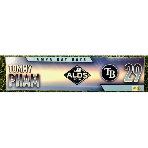 Photo of Game Used ALDS Locker Tag: Tommy Pham - Starting Left Fielder & DH - October 4, 5 & 10, 2019 at HOU