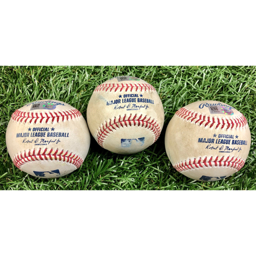 Photo of Game Used Baseball Package: Rafael Devers, Yairo Munoz and Jackie Bradley Jr. - September 10, 2020 v BOS