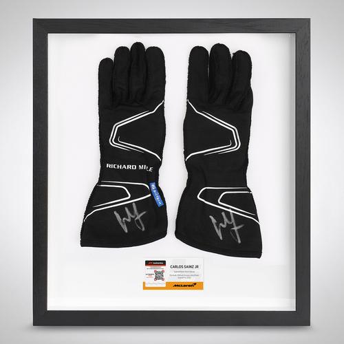Photo of Carlos Sainz 2020 Framed Signed Race-worn Race Gloves - Abu Dhabi GP
