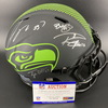 NFL - Seahawks Eclipse Helmet Signed by Russell Wilson, DK Metcalf, Tyler Ott, Quandre Diggs, Bobby Wagner, Jamal Adams and Nick Bellore