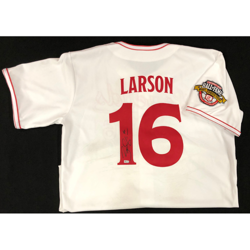 Photo of Brandon Larson - AUTOGRAPHED Game Used Jersey: Reds Hall of Fame Legends Game