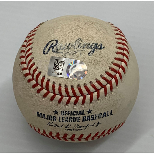 Photo of Game Used Baseball - 9/21/2021 - Royals at Indians - Yu Chang 3 RBI Triple off Pitcher Daniel Lynch