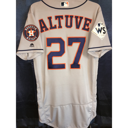 buy popular c00a6 68479 MLB Auctions | 2017 World Series Game-Used Jose Altuve Road ...