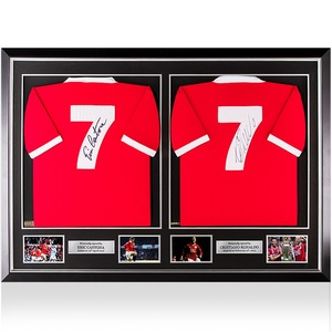Photo of Eric Cantona and Cristiano Ronaldo Signed Manchester United Shirts In Master ...