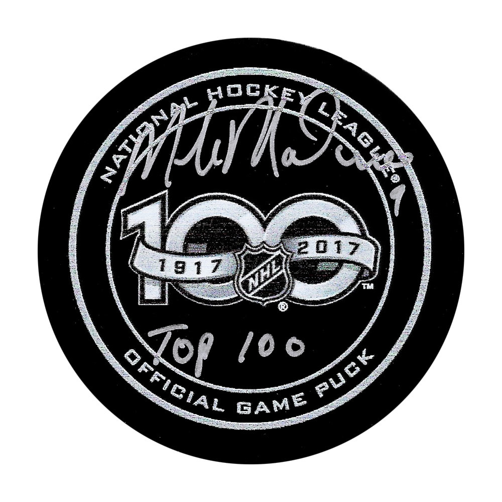 Mike Modano Autographed NHL 100th Anniversary Official Game Puck w/TOP 100 Inscription