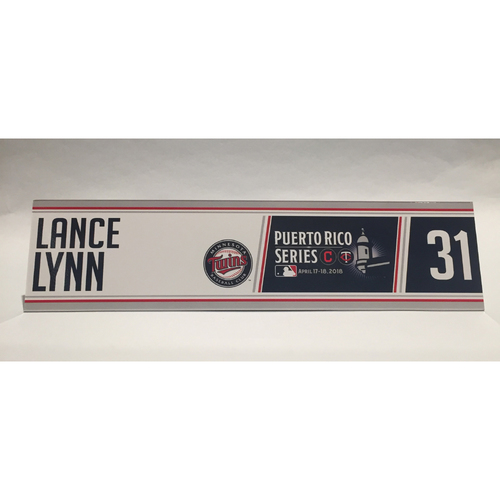Photo of 2018 Puerto Rico Series - Lance Lynn Game-Used Locker Name Plate