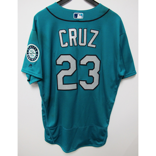 Photo of Seattle Mariners Nelson Cruz Game Used Green Jersey - June 1, 2018 vs. Tampa Bay Rays