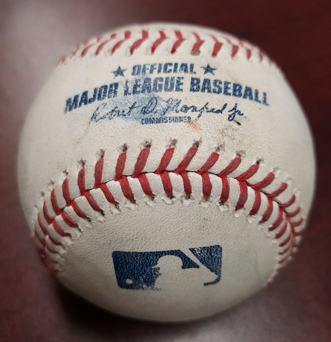 Photo of Authenticated Game Used Baseball - Ben Gamel Grounds Out against Tim Mayza (May 8, 2018). Top 6. James Paxton No Hitter Game. 2nd Ever by a Canadian.