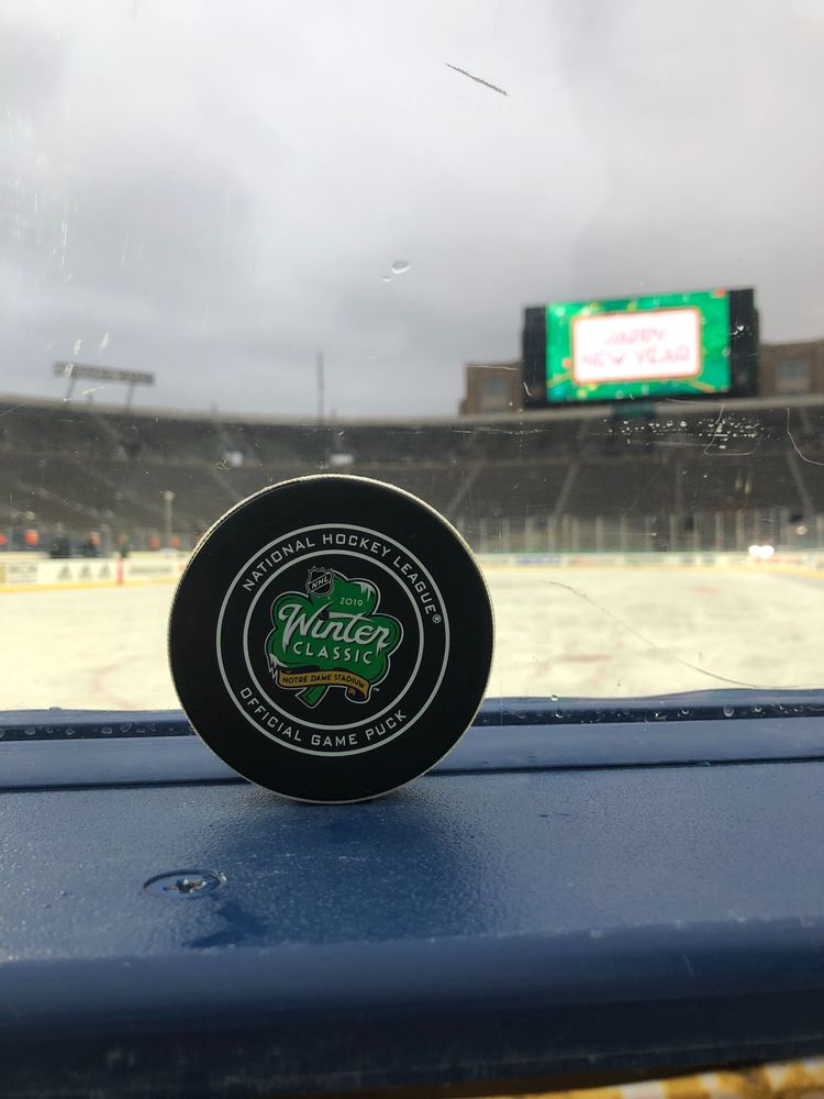 Boston Bruins vs. Chicago Blackhawks 2019 NHL Winter Classic Game-Used Puck - Used During First Period