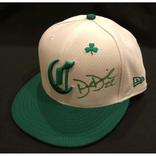 Photo of Derek Dietrich -- Autographed & Game-Used Cap -- 2019 St. Patrick's Day