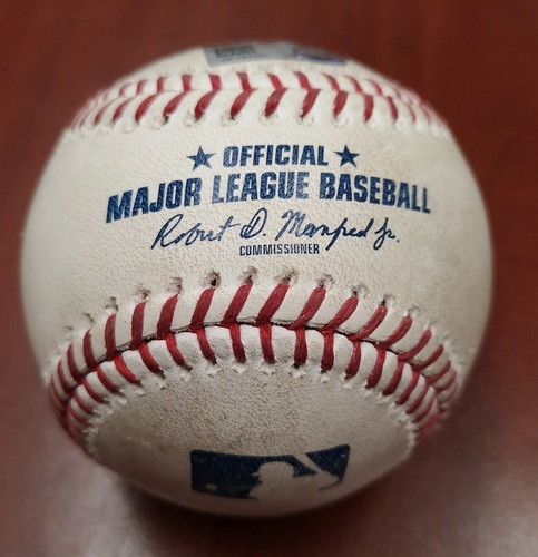 Photo of Authenticated Player Collected Baseball - March 30, 2019 vs Tigers: Justin Smoak Home Run (1) against Spencer Turnbull (B4)