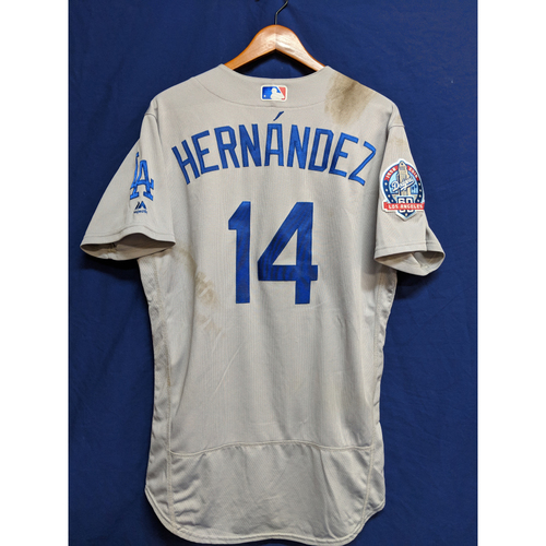 Photo of Enrique Hernandez Game-Used Away Jersey - Dodgers at Mets - 6/24/18