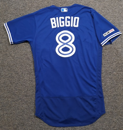 Photo of Authenticated Game Used Jersey: #8 Cavan Biggio (Sept 15, 19 vs NYY: 0-for-3 with 1 Walk and 1 Run). Size 42. Rookie Season.