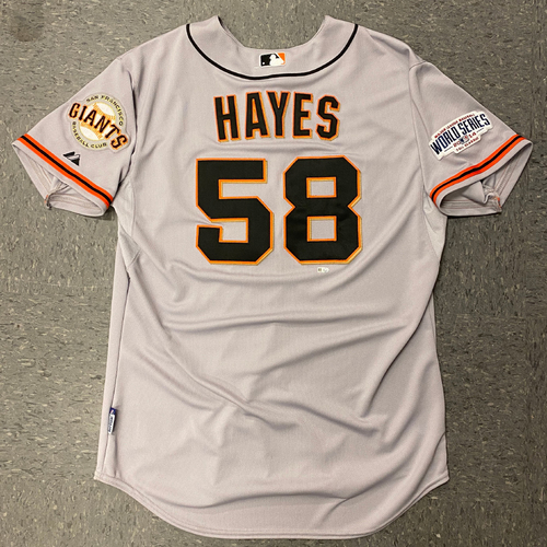 Photo of 2014 Game Used World Series Road Jersey worn by #58 Bill Hayes for World Series Games 1 & 6 @ Kansas City Royals - Size 48