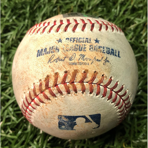 Photo of Game Used Baseball: Austin Meadows single and Tommy Pham strikeout against Mike Shawaryn - September 21, 2019 v BOS