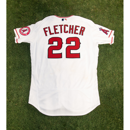 Photo of David Fletcher Game-Used Jersey from 8/14/20 Game vs. LAD - Size 44