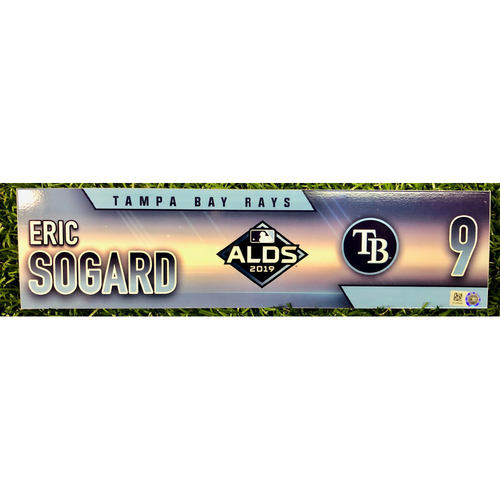Photo of Game Used ALDS Locker Tag: Eric Sogard - Pitch Hitter & Starting Second Baseman- 2H, HR, 2R, 2RBI - October 4, 5 & 10, 2019 at HOU