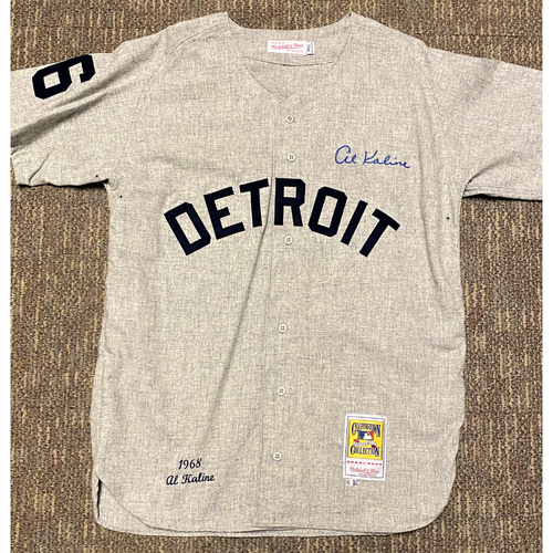 Photo of Al Kaline Autographed Detroit Tigers #6 Mitchell & Ness Jersey
