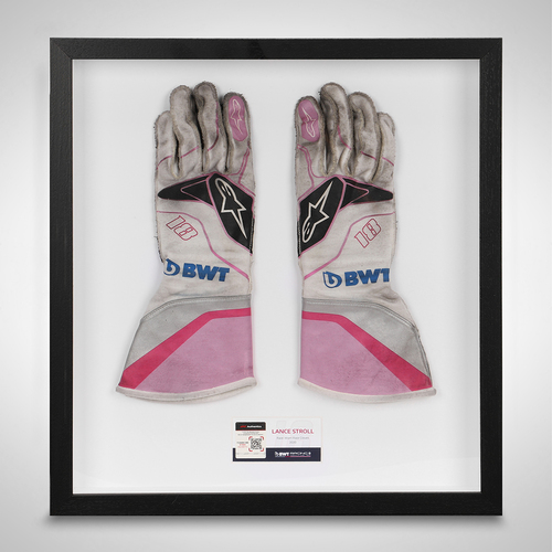 Photo of Lance Stroll 2020 Framed Race-used Gloves