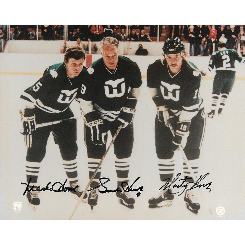 Gordie, Mark & Marty Howe Autographed Hartford Whalers 8X10 Photo