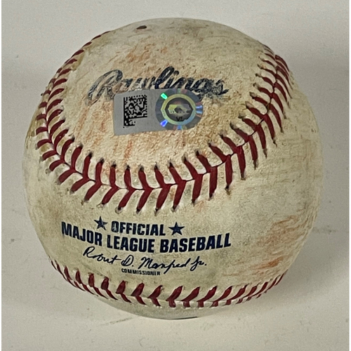 Photo of Game Used Baseball - 4/27/2021 - Twins at Indians - Cesar Hernandez Doubles off Pitcher Kenta Maeda