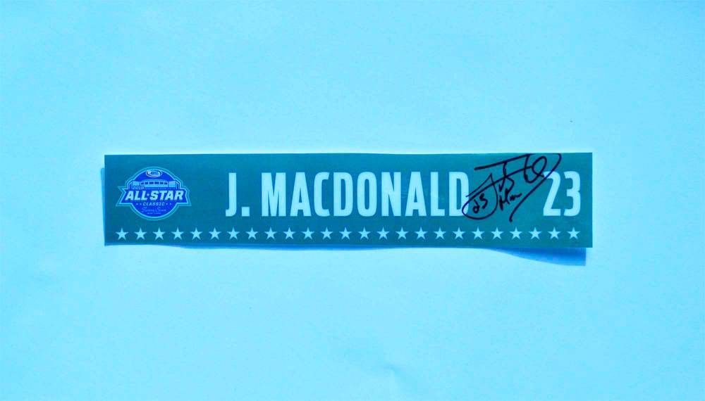 2018 AHL All-Star Classic Locker Room Nameplate Used and Signed by #23 Jacob MacDonald
